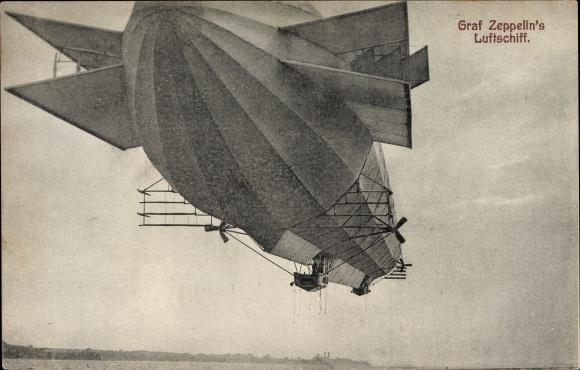 Ak Graf Zeppelin's Luftschiff, Zeppelin über dem Bodensee