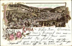 Litho Ruhla in Westthüringen, Panoramablick auf die Stadt