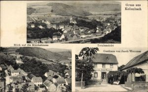Ak Kellenbach in Rheinland Pfalz, Gasthaus von Jacob Wommer, Kirchstraße, Totalansicht von Ort