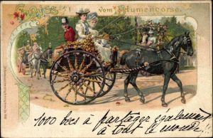 Passepartout Litho Baden Baden, Pferdekutsche, Gruß vom Blumenkorso