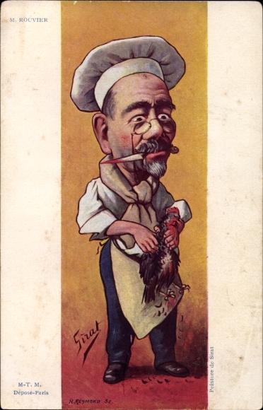 Künstler Ak Sirat, Karikatur des Politikers Maurice Rouvier einen Hahn rupfend