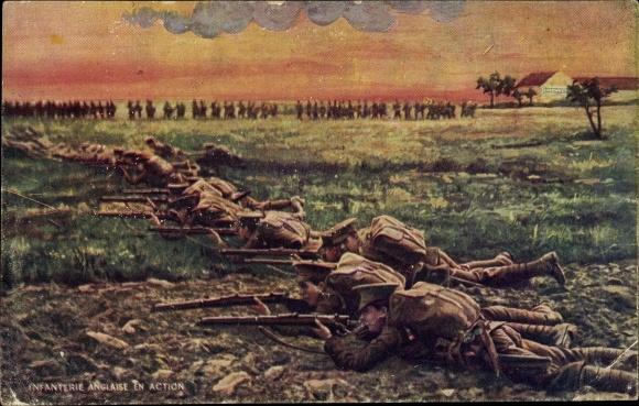 Künstler Ak Infanterie Anglaise en Action, englische Soldaten im Gefecht