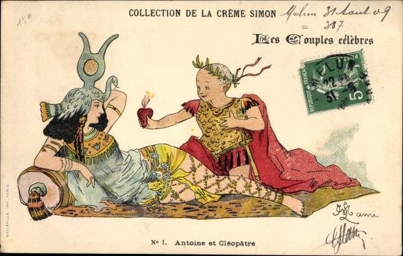 Künstler Ak Antoine et Cleopatre, Caesar und Kleopatra, Collection de la Creme Simon