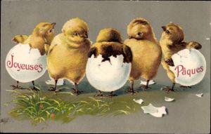 Präge Litho Glückwunsch Ostern, Joyeuses Paques, Küken sind aus Eiern geschlüpft