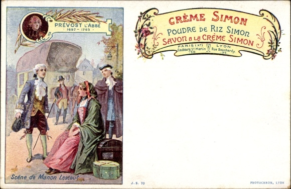 Künstler Ak Creme Simon, Poudre de Riz Simon, Scene de Manon Lescaut, Antoine François Prévost