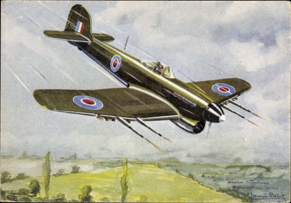 Künstler Ak Petit, Louis, Hawker Typhoon, Monoplace chasseur bombardier