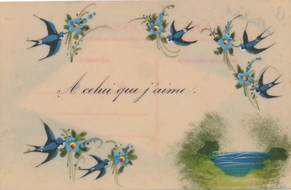Zelluloid Ak Sechs Schwalben mit Blüten, Gewässer