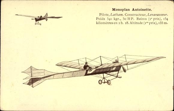 Ak Monoplan Antoinette, Pilote Latham, Constructeur Levavasseur, Flugpioniere