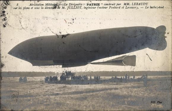 Ak Aérostation Miltaire, Dirigéable Patrie, Lebaudy, Julliot, Luftschiff