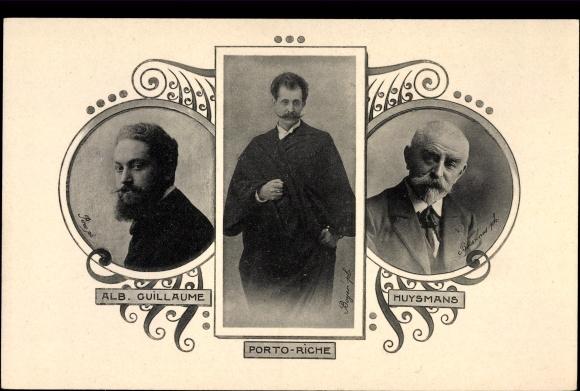 Ak Dramatiker Georges de Porto-Riche, Maler Albert Guillaume, Schriftsteller Joris-Karl Huysmans