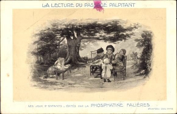 Künstler Ak La lecture du passage palpitant, Kinder hören einer Geschichte zu, Phosphatine Falieres