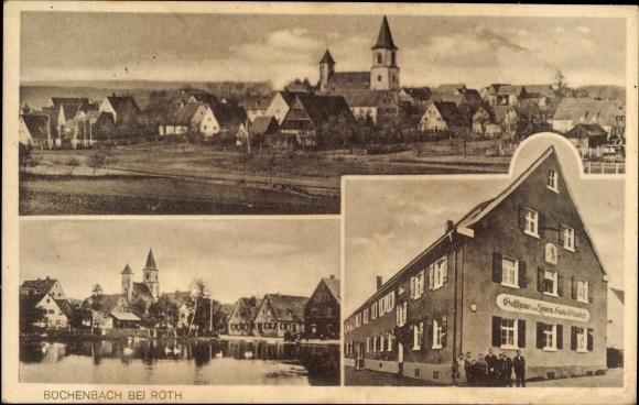 Ak Büchenbach in Mittelfranken Bayern, Gasthaus zum Löwen von Hans Glauber, Panorama vom Ort