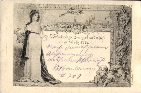 Ak Fürth in Mittelfranken Bayern, IX. Fränkisches Sängerbundesfest 1898