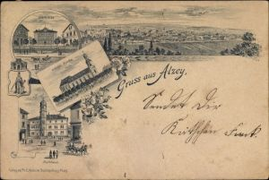 Litho Alzey in Rheinhessen, Seminar, Evangelische Kirche, Rathaus, Panorama vom Ort