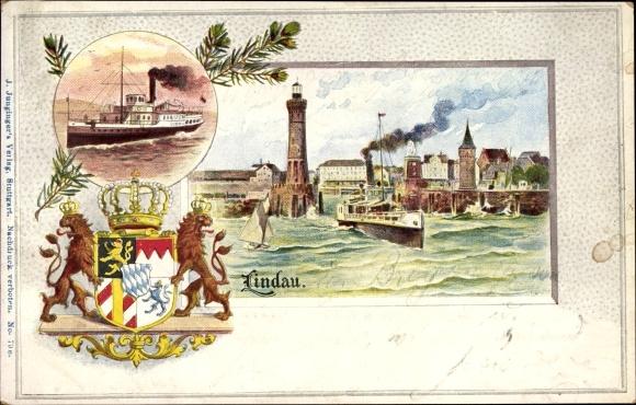 Wappen Passepartout Litho Lindau im Bodensee Schwaben, Hafeneinfahrt, Leuchtturm, Dampfer