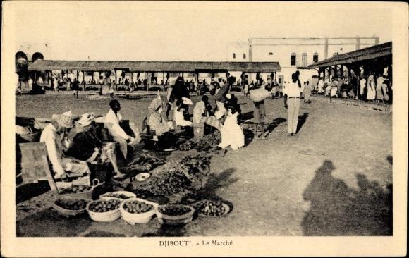Ak Dschibuti, Le Marché, Marktplatz, Händler, Käufer