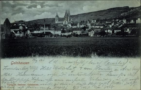 Mondschein Ak Gelnhausen im Main Kinzig Kreis Hessen, Gesamtansicht des Ortes, Kirche