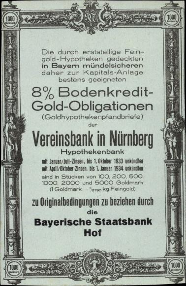 Ak Nürnberg, Goldhypothekenpfandbriefe der Vereinsbank, Bayerische Staatsbank Hof
