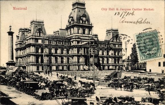 Ak Montreal Québec Kanada, City Hall, Jacques Cartier Market, Rathaus, Marktplatz