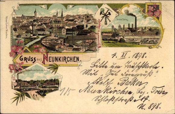 Litho Neunkirchen im Saarland, Gesamtansicht, Zechenhaus Kohlwald, Grube König