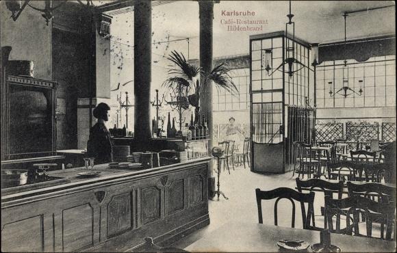 Ak Karlsruhe In Baden Württemberg Cafe Restaurant Hildenbrandt