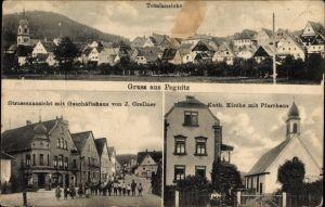 Ak Pegnitz Oberfranken, Totale, Straßenpartie mit Geschäftshaus von J. Grellner, Kirche, Pfarrhaus