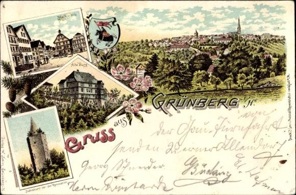 Wappen Litho Grünberg in Hessen, Marktplatz, Diebsturm, Alte Burg, Panorama vom Ort