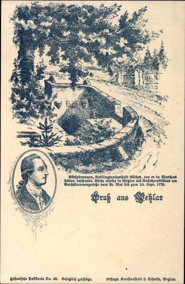 Litho Wetzlar im Lahn Dill Kreis, Goethebrunnen, Portrait von Goethe
