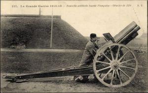 Ak La Grande Guerre 1914-15, Nouvelle artillerie lourde Francaise, Obusier de 220, Geschütz