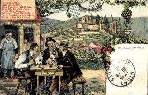Künstler Ak Gruß aus der Pfalz, Männer trinken Wein