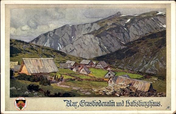 Künstler Ak Rax Österreich, Grasbodenalm und Habsburghaus, Deutscher Schulverein