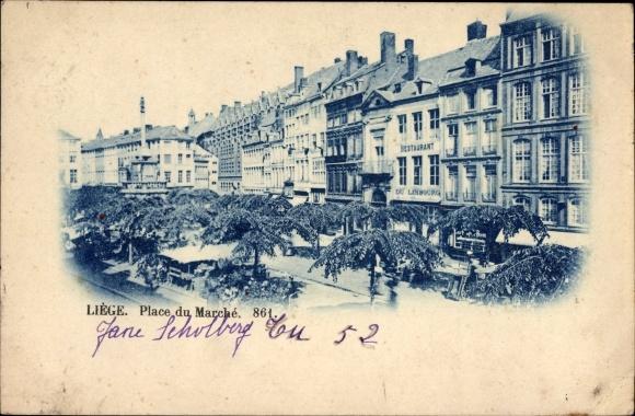 Ak Liège Lüttich Wallonien, Place du Marché, Marktplatz