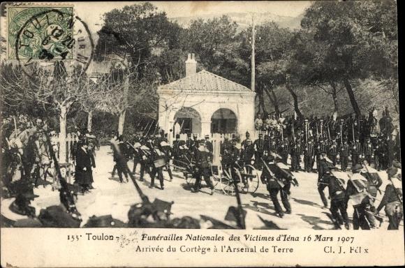 Ak Toulon Var, Funérailles Nationales des Victimes d'Iéna, 16 Mars 1907
