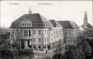 Ak Erlangen in Mittelfranken Bayern, Blick auf die Universitätsbibliothek