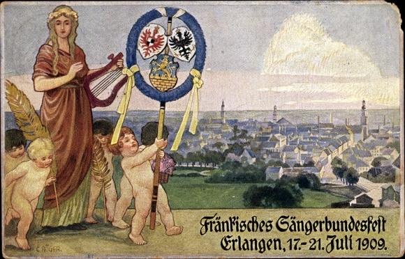 Künstler Ak Röger, C., Erlangen in Mittelfranken Bayern, Fränkisches Sängerbundesfest 1909, Wappen