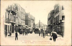 Ak Toulouse Haute Garonne, Rue du Faubourg St. Etienne, Colonne du Général Dupuy, Halle aux Grains
