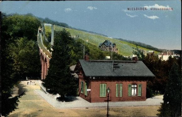 Ak Wiesbaden in Hessen, Blick zur Nerobergbahn