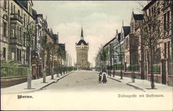 Ak Worms in Rheinland Pfalz, Dalbergstraße mit Wasserturm