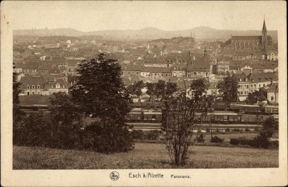 Ak Esch an der Alzette Luxemburg, Panorama der Ortschaft, Güterwaggons
