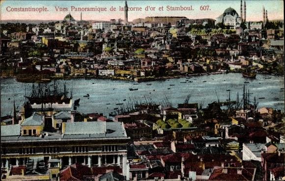 Ak Konstantinopel Istanbul Türkei, Vue panoramique de la corne d'or et Stamboul