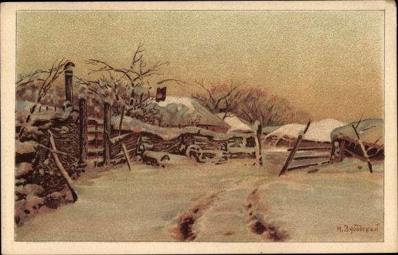 Künstler Ak Dubovskoy, Nikolay, Russland, Russisches Dorf im Schnee, Russisches Rotes Kreuz