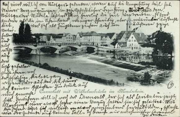 Mondschein Ak Cannstatt Stuttgart in Baden Württemberg, Wilhelmsbrücke im Mondschein, Wehr