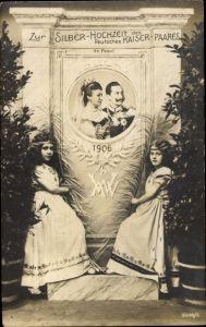Ak Kaiser Wilhelm II., Kaiserin Auguste Viktoria, Kaiserpaar, Silberhochzeit 1906