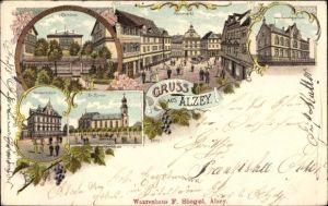 Litho Alzey in Rheinhessen, Seminar, Rossmarkt, Haushaltungsschule, Winterschule, Kirche