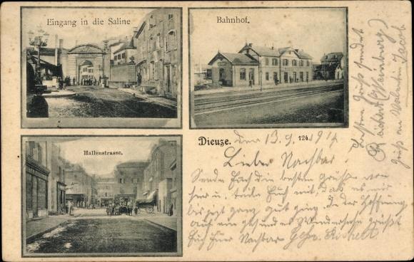 Ak Dieuze Lothringen Moselle, Eingang in die Saline, Bahnhof, Hallenstraße