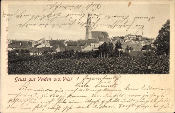 Ak Velden an der Vils in Niederbayern, Blick über die Dächer des Ortes zur Kirche