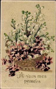 Präge Litho A vous mes pensées, Veilchen und weiße Blumen in einem Korb