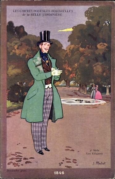 Künstler Ak Matet, J., Les Elegants, eleganter Mann mit Zylinder 1846, la Belle Jardiniere