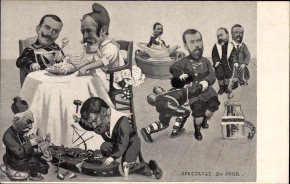 Ak Spectacle du Jour, Émile Loubet, Viktor Emanuel, Georg V., Roosevelt, Wilhelm II., Port Arthur