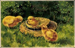 Präge Litho Glückwunsch Ostern, Heureuses Paques, drei Küken, Strohhut